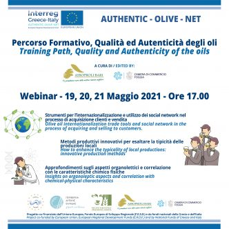 Training course, Quality and authenticity of Olive Oils 19th-20th-21st May 2021 at 5:00 p.m.